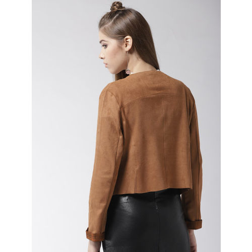 Madame Brown Solid Suede Finish Waterfall Shrug