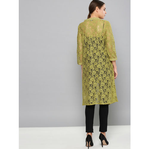 Chemistry Golden Olive Green Lace Front Open Shrug