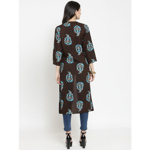 Indibelle Brown Printed Longline Shrug
