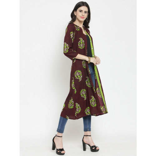 Indibelle Women Burgundy & Lime Green Printed Longline Shrug