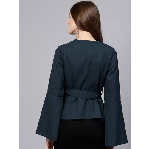 STREET 9 Women Navy Blue Solid Open Front Shrug