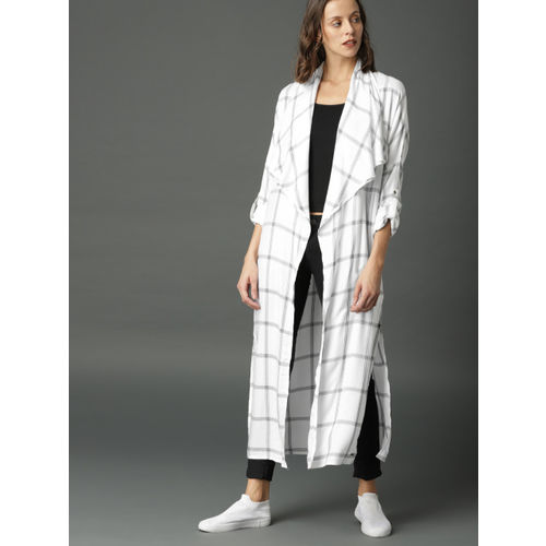 Roadster White & Black Checked Open Front Shrug