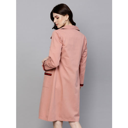 SASSAFRAS Pink Denim Solid Longline Open Front Shrug