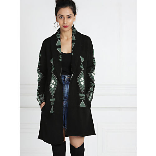 all about you by Deepika Padukone Black & Green Open Front Longline Shrug