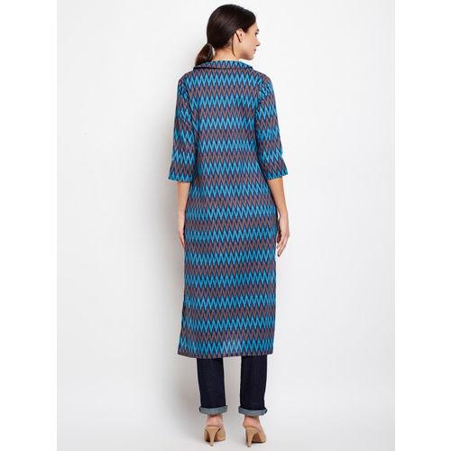 Azira Blue Printed Longline Tie-Up Shrug