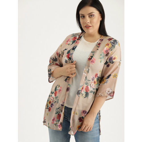 Sztori Beige & Red Printed Open Front Shrug