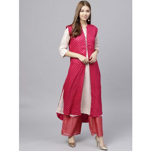 Jaipur Kurti Pink & Golden Ethnic Print Longline Shrug