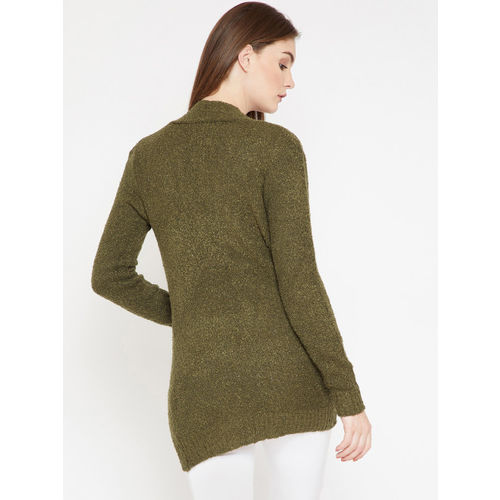 Marie Claire Olive Green Self Design Open Front Shrug