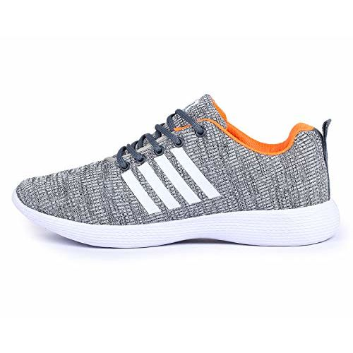 TRASE Grey Synthetic Lace Up Sports Shoes