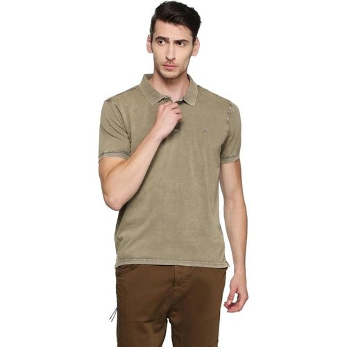 Allen Solly Solid Men Polo Neck Green T-Shirt
