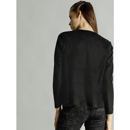 Roadster Women Black Solid Suede Finish Waterfall Shrug