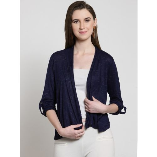 Latin Quarters Navy Blue Solid Open Front Shrug