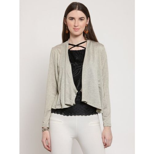 Latin Quarters Beige Solid Open Front Shrug