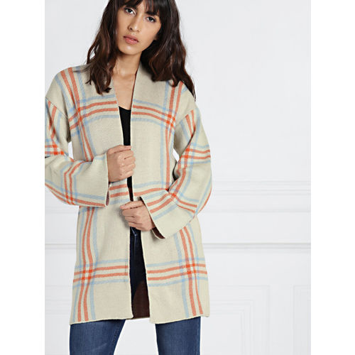 all about you from Deepika Padukone Cream-Coloured & Orange Checked Shrug