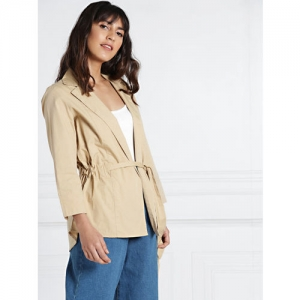 all about you Beige Solid Tie-Up Shrug