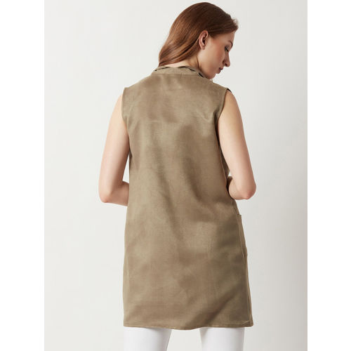 Miss Chase Olive Brown Solid Lapel Shrug