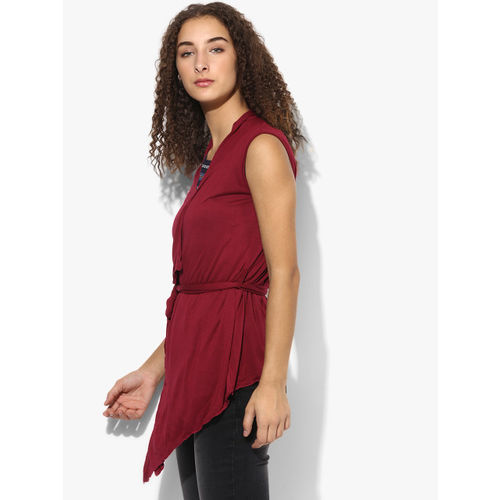 Style Quotient Maroon Solid Shrug