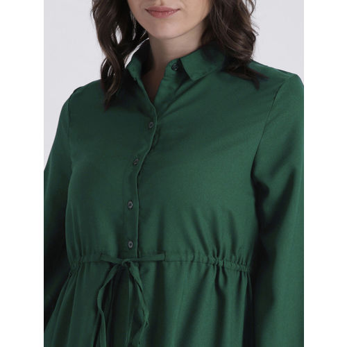 Chemistry Green Solid Button Shrug