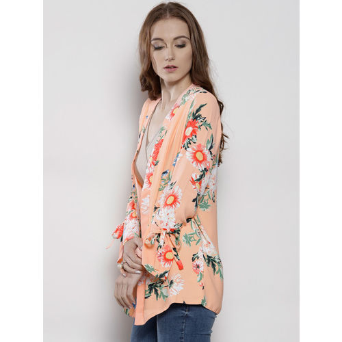 DOROTHY PERKINS Peach-Coloured & Green Printed Open Front Shrug