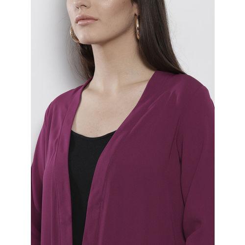 DOROTHY PERKINS Purple Solid Open Front Shrug