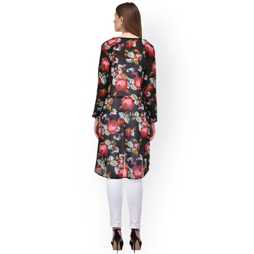PURYS Multicoloured Printed Open Front Shrug