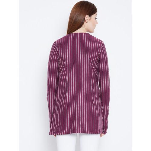Hypernation Purple & White Striped Open Front Shrug