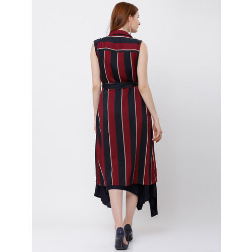 Tokyo Talkies Red & Navy Blue Striped Open Front Shrug