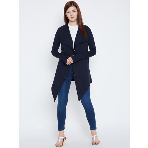 Hypernation Navy Blue Solid Open Front Shrug
