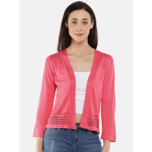 Manola Pink Solid Open-Front Shrug