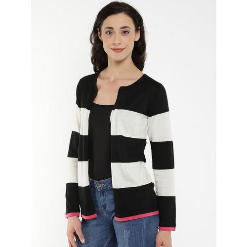 Manola Cream-Coloured & Black Striped Open Front Shrug