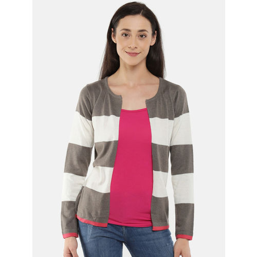 Manola Brown & Off-White Striped Open-Front Shrug