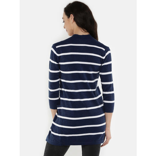 Manola Blue & White Striped Open Front Shrug