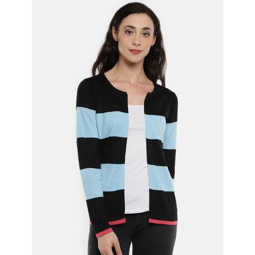 Manola Blue & Black Striped Open Front Shrug