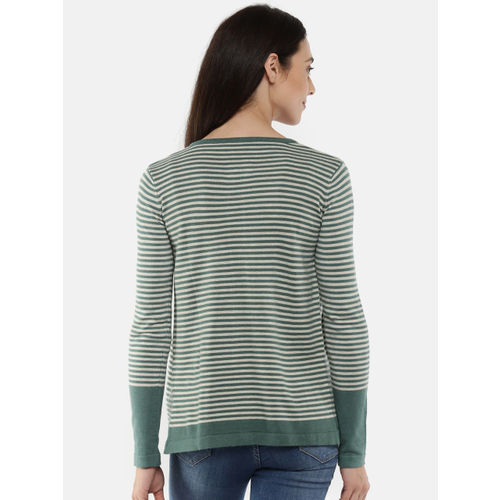 Manola Green & Grey Striped Open-Front Shrug