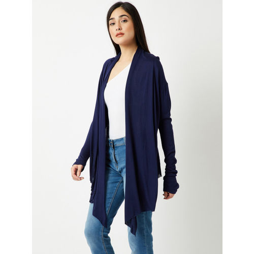 Miss Chase Navy Blue Solid Open-Front Shrug