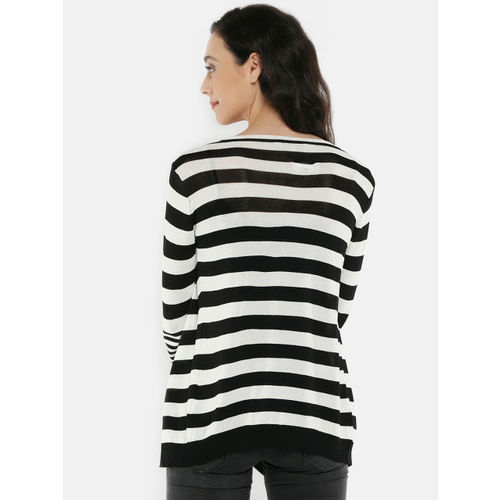 Manola Black & White Striped Open Front Shrug