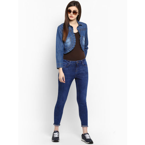 StyleStone Blue Self Design Open Front Denim Shrug