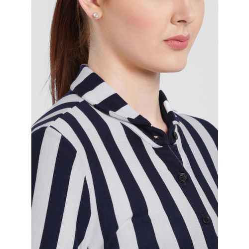 Texco Navy Blue & White Striped Button Shrug