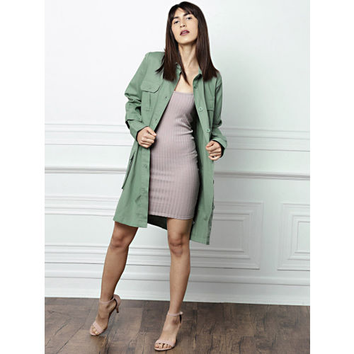 all about you from Deepika Padukone Olive Green Solid Button Shrug
