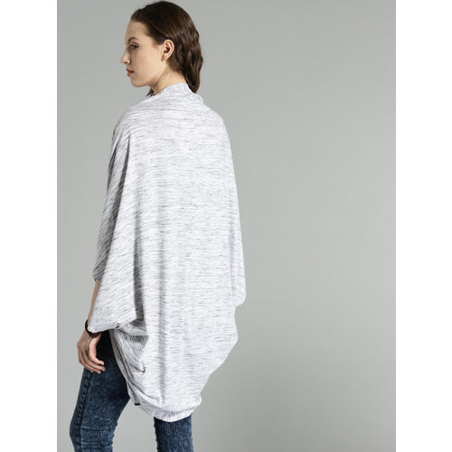 Roadster Off-White & Grey Solid Open Front Shrug