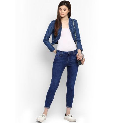 StyleStone Blue Self Design Open Front Denim Shrug