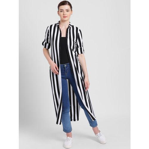 Texco Black & White Striped Button Shrug