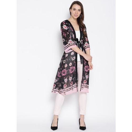 Madame Black & Pink Floral Print Semi-Sheer Longline Tie-Up Shrug