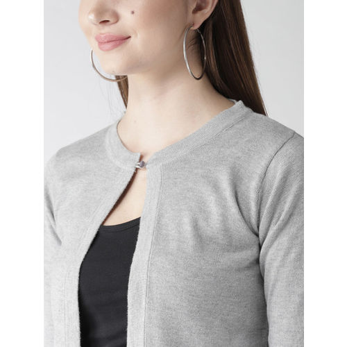 Style Quotient by noi Grey Melange Solid Crop Shrug