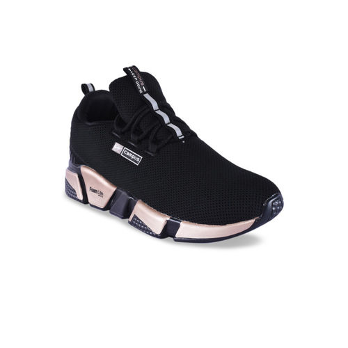 Campus Women Black Mesh Running Shoes