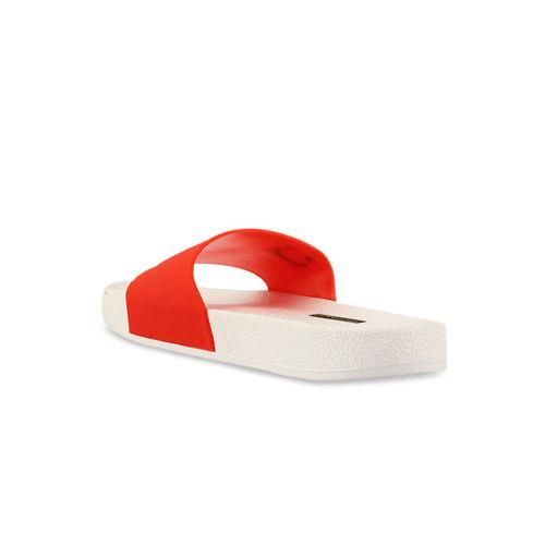 Shoetopia Women Red Solid Sliders
