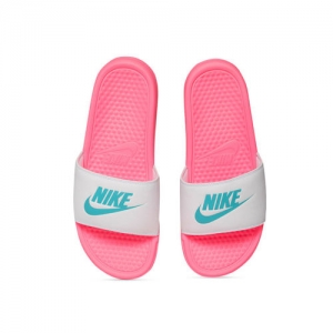 Nike Women White & Pink Printed Sliders