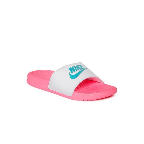Nike Women White & Pink Printed Sliders