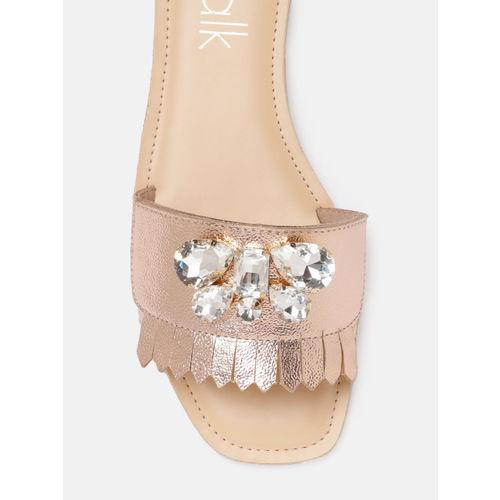 Catwalk Women Rose Pink Embellished One Toe Flats