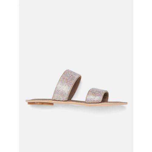 Catwalk Women Rose Gold-Toned Solid Open Toe Flats